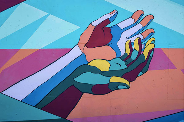 An artwork of a two hands in supplication